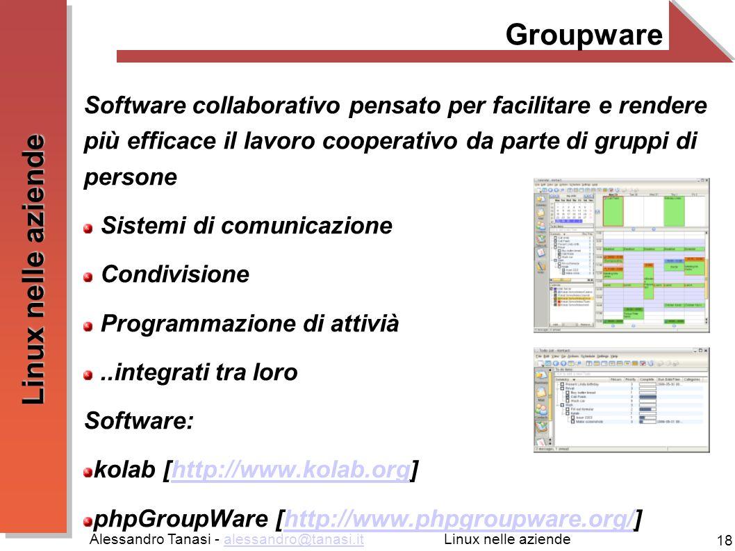Groupware Software collaborativo pensato per facilitare e rendere più efficace il lavoro cooperativo da parte di gruppi di persone.