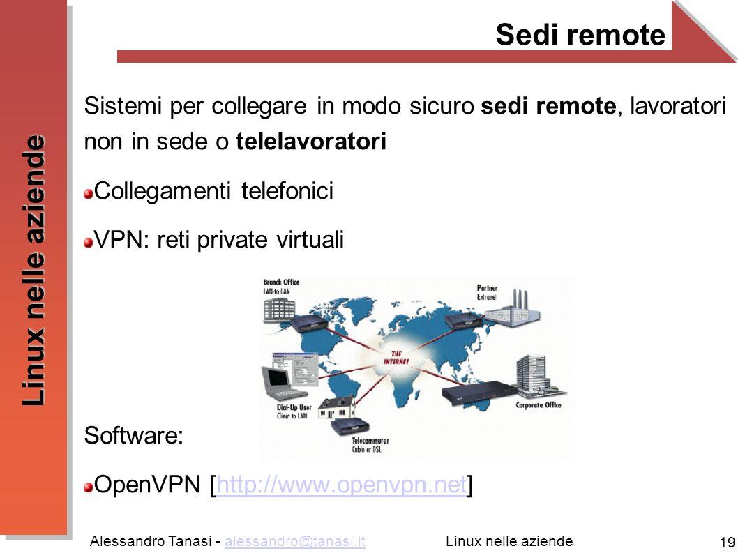 Sedi remote Sistemi per collegare in modo sicuro sedi remote, lavoratori non in sede o telelavoratori.