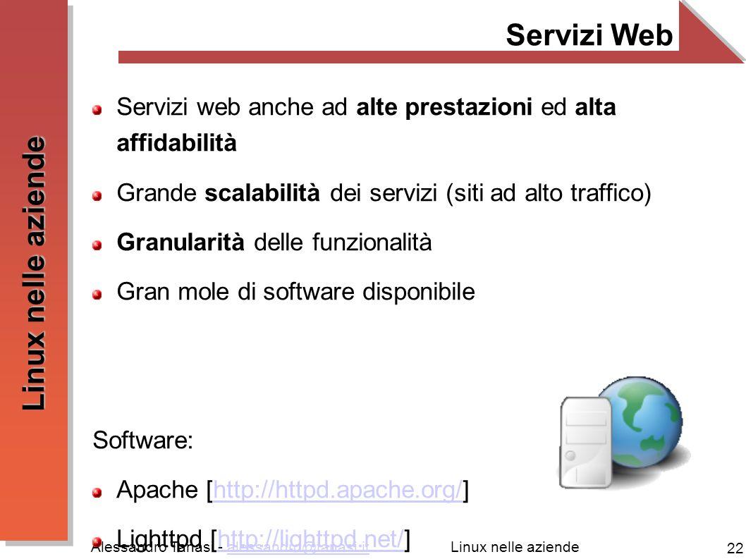 Servizi Web Servizi web anche ad alte prestazioni ed alta affidabilità