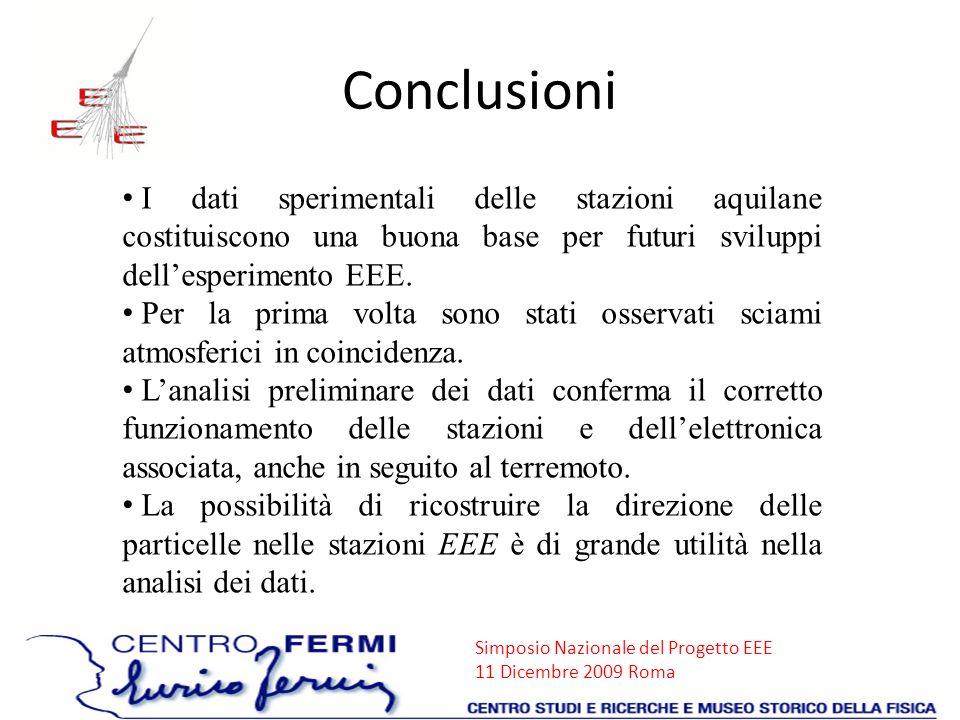 Conclusioni I dati sperimentali delle stazioni aquilane costituiscono una buona base per futuri sviluppi dell'esperimento EEE.