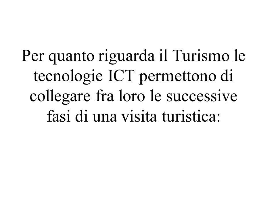 Per quanto riguarda il Turismo le tecnologie ICT permettono di collegare fra loro le successive fasi di una visita turistica: