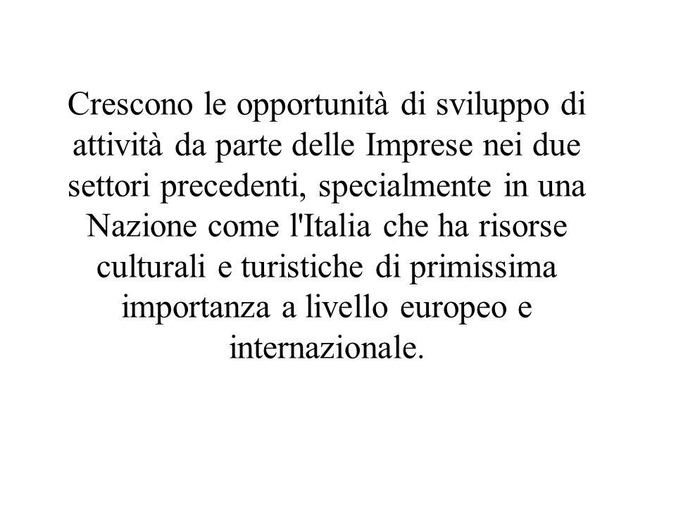 Crescono le opportunità di sviluppo di attività da parte delle Imprese nei due settori precedenti, specialmente in una Nazione come l Italia che ha risorse culturali e turistiche di primissima importanza a livello europeo e internazionale.
