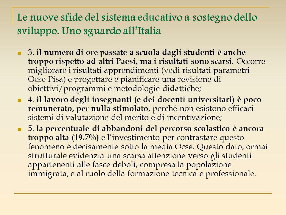 Le nuove sfide del sistema educativo a sostegno dello sviluppo