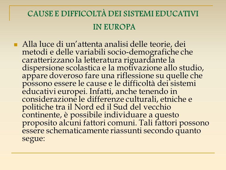 CAUSE E DIFFICOLTÀ DEI SISTEMI EDUCATIVI IN EUROPA