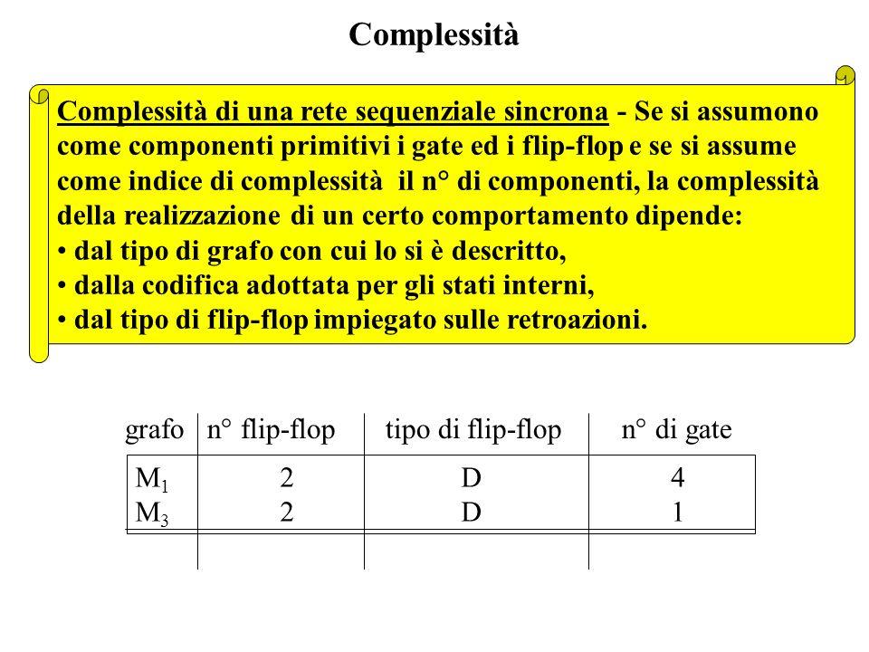Complessità Complessità di una rete sequenziale sincrona - Se si assumono. come componenti primitivi i gate ed i flip-flop e se si assume.