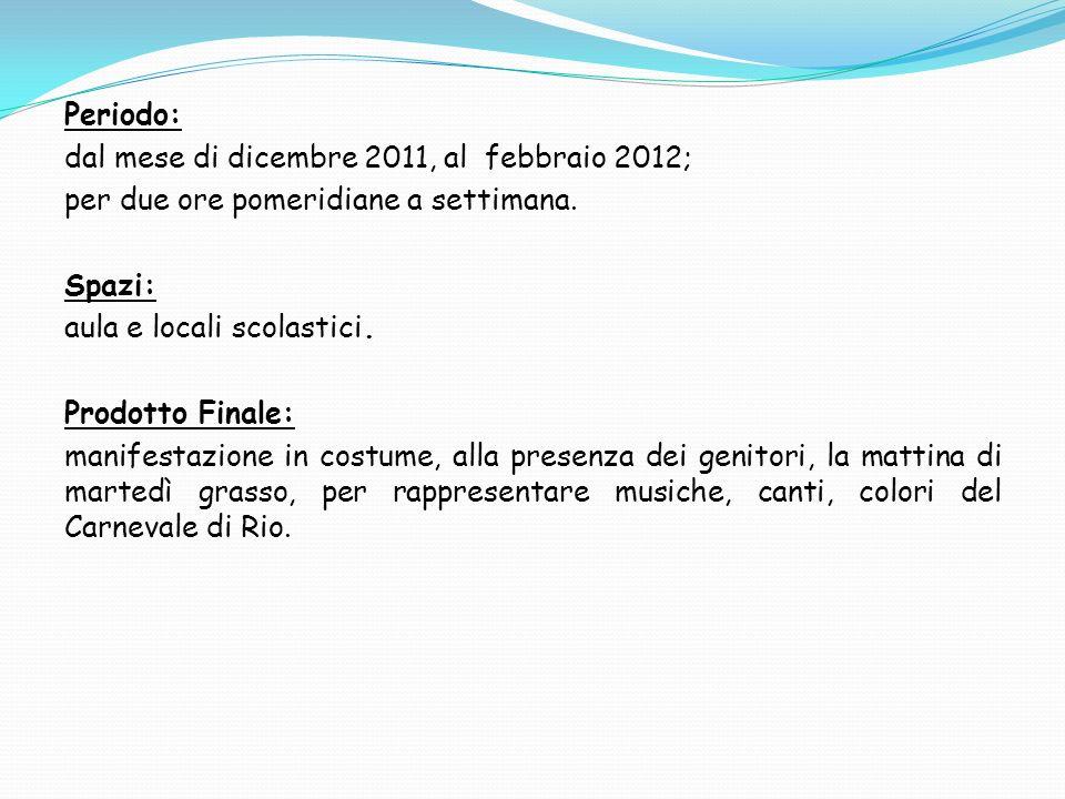 Periodo: dal mese di dicembre 2011, al febbraio 2012; per due ore pomeridiane a settimana. Spazi: