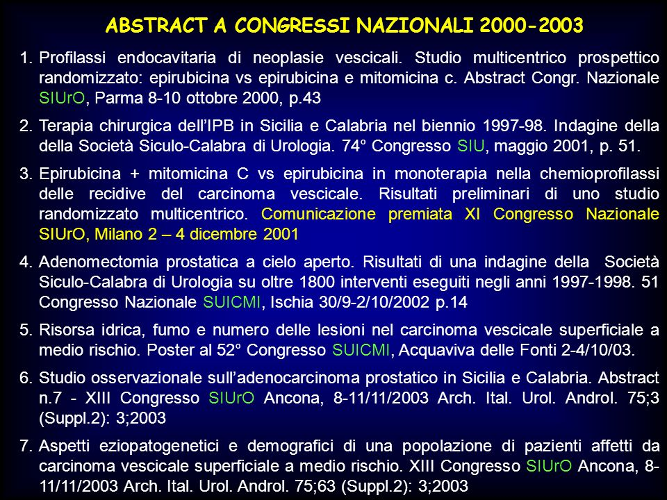 ABSTRACT A CONGRESSI NAZIONALI 2000-2003