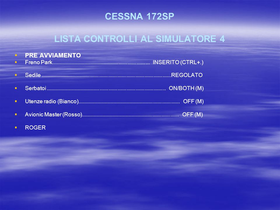 CESSNA 172SP LISTA CONTROLLI AL SIMULATORE 4