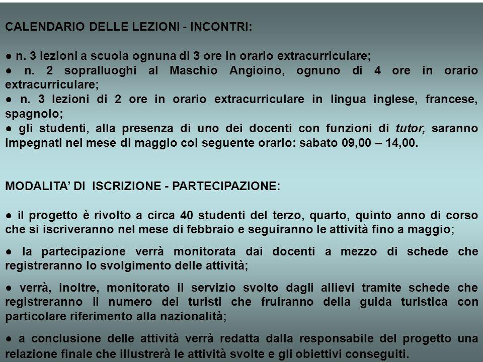 CALENDARIO DELLE LEZIONI - INCONTRI: