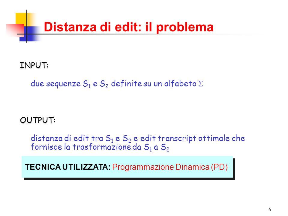 Distanza di edit: il problema