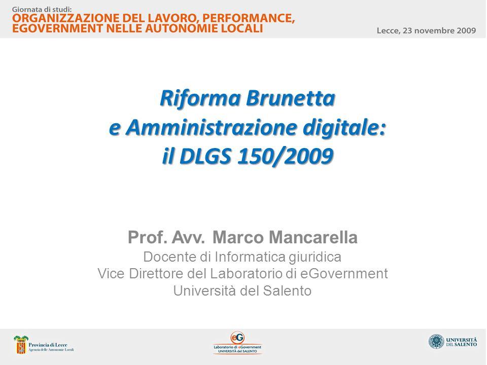 Riforma Brunetta e Amministrazione digitale: il DLGS 150/2009