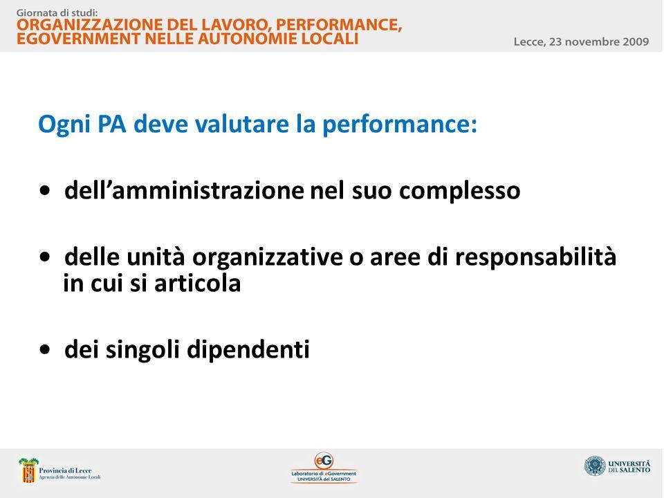 Ogni PA deve valutare la performance: