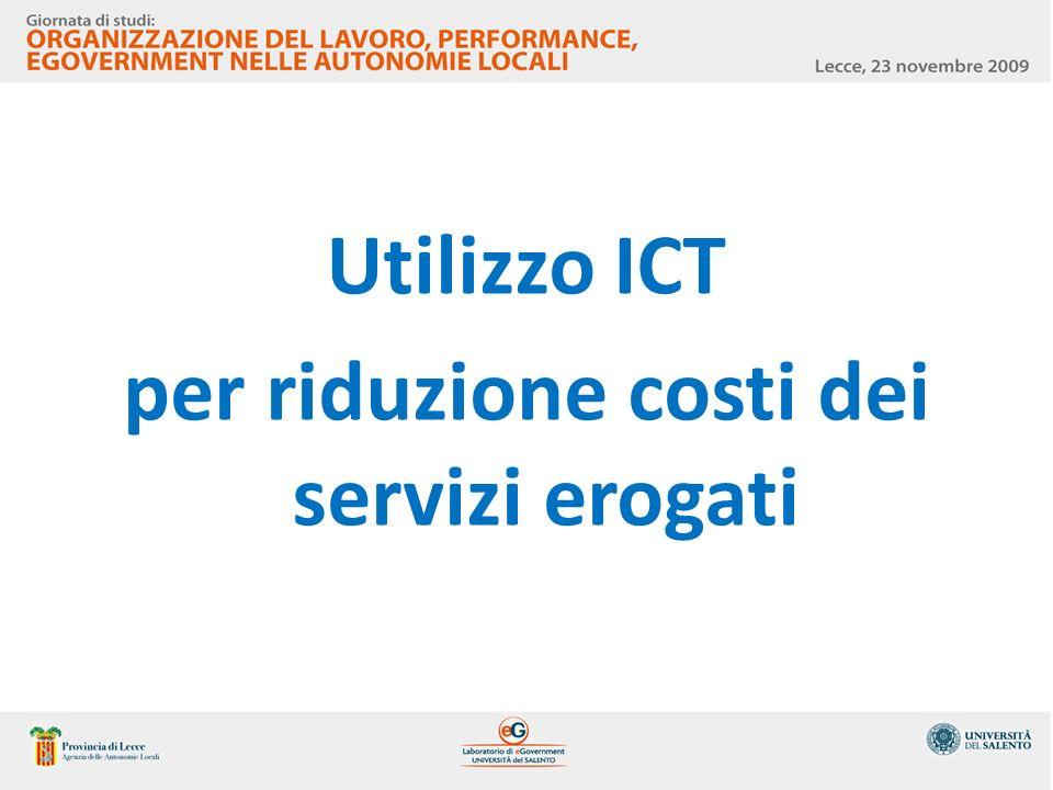 Utilizzo ICT per riduzione costi dei servizi erogati