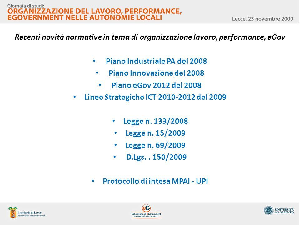 Piano Industriale PA del 2008 Piano Innovazione del 2008