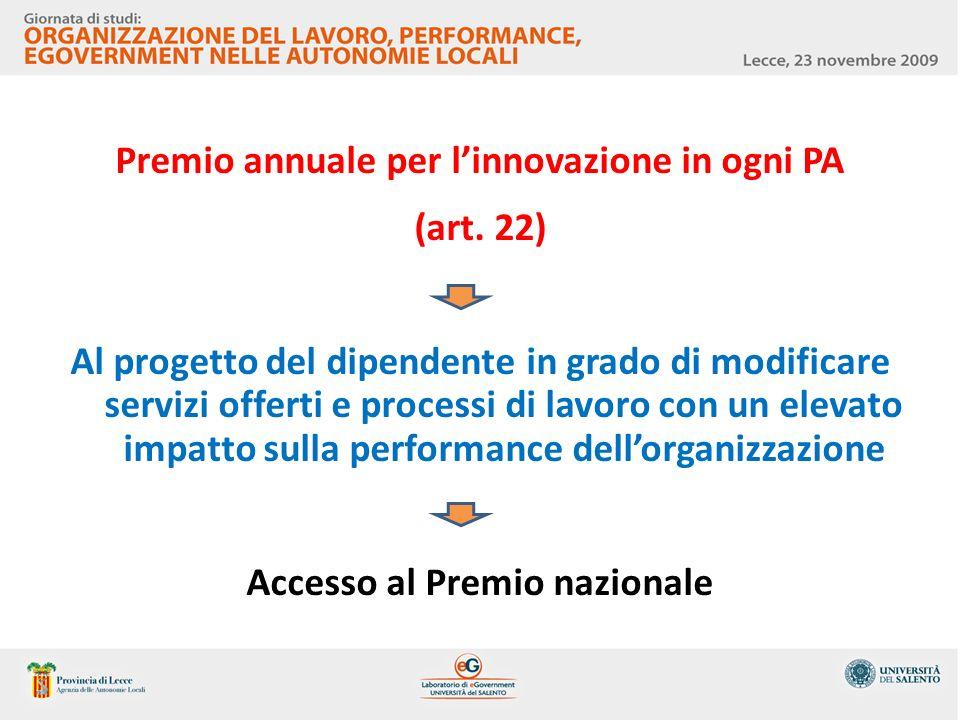 Premio annuale per l'innovazione in ogni PA (art