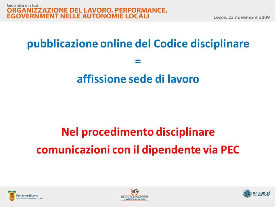 pubblicazione online del Codice disciplinare =