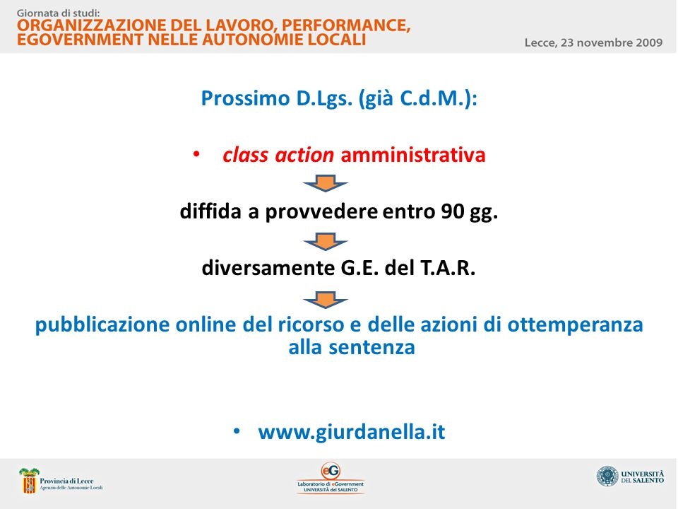 Prossimo D.Lgs. (già C.d.M.): class action amministrativa