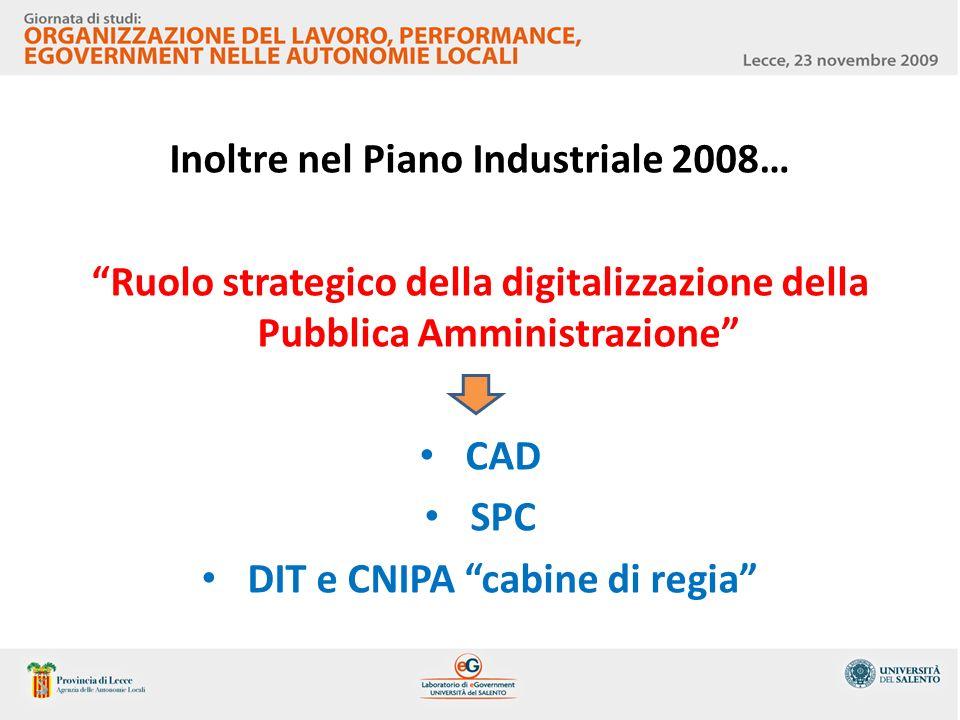 Inoltre nel Piano Industriale 2008… DIT e CNIPA cabine di regia