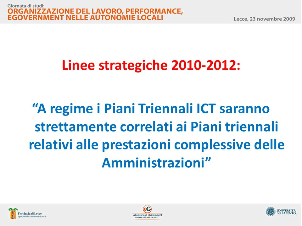 Linee strategiche 2010-2012: