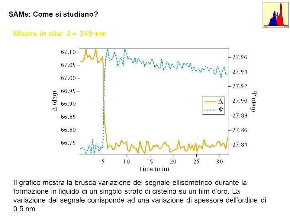 SAMs: Come si studiano Misura in situ: l = 349 nm.