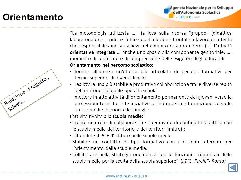 Orientamento Relazione, Progetto , Scheda,.....