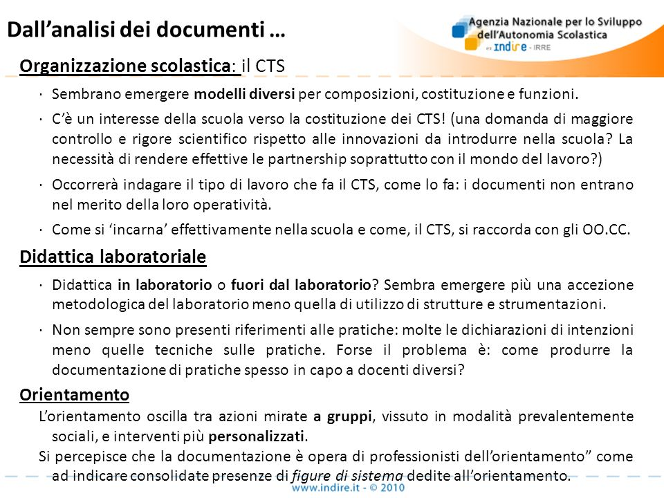 Dall'analisi dei documenti …