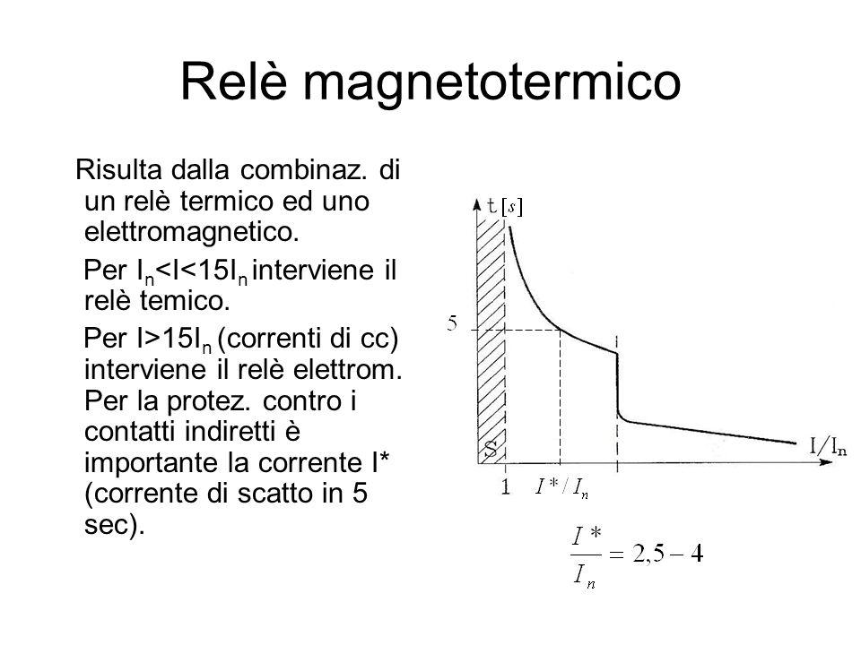 Relè magnetotermico Risulta dalla combinaz. di un relè termico ed uno elettromagnetico. Per In<I<15In interviene il relè temico.