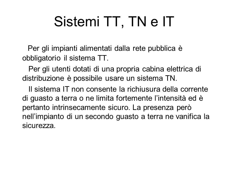 Sistemi TT, TN e IT Per gli impianti alimentati dalla rete pubblica è obbligatorio il sistema TT.