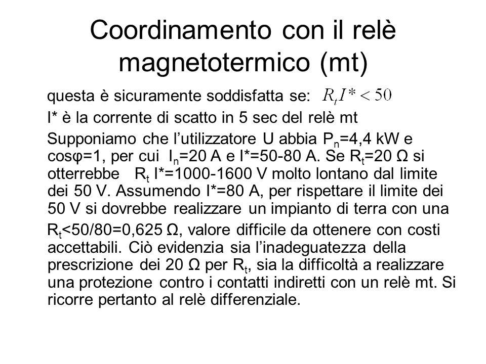 Coordinamento con il relè magnetotermico (mt)