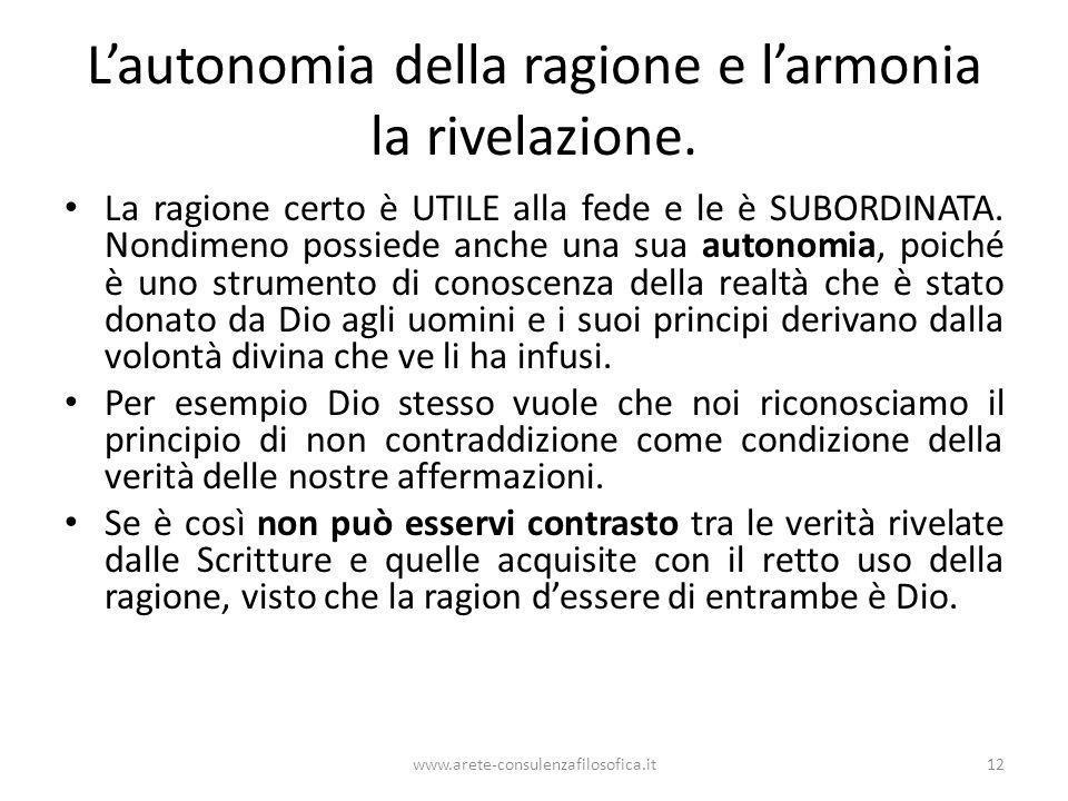 L'autonomia della ragione e l'armonia la rivelazione.