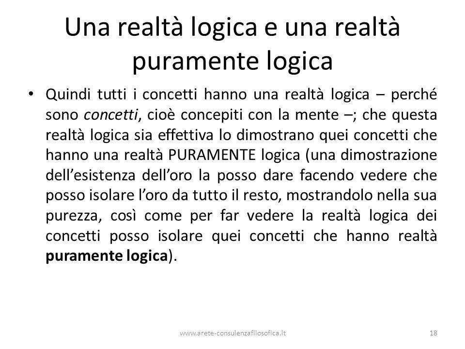 Una realtà logica e una realtà puramente logica