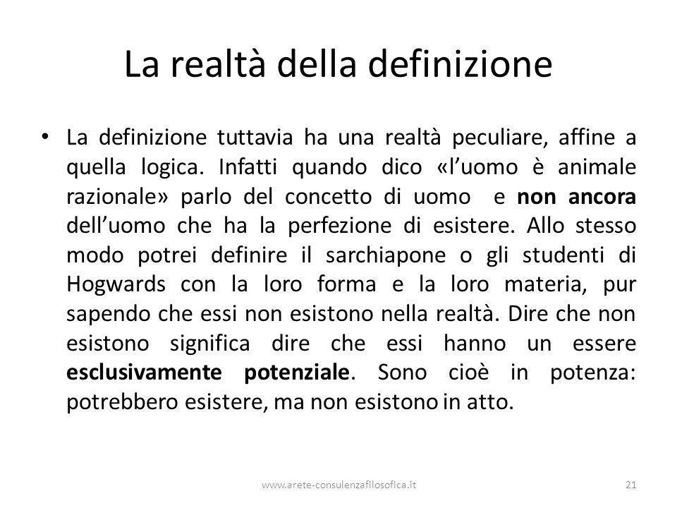 La realtà della definizione