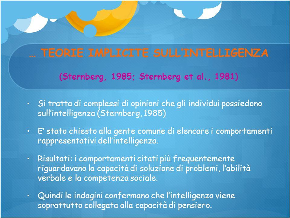 … TEORIE IMPLICITE SULL'INTELLIGENZA (Sternberg, 1985; Sternberg et al