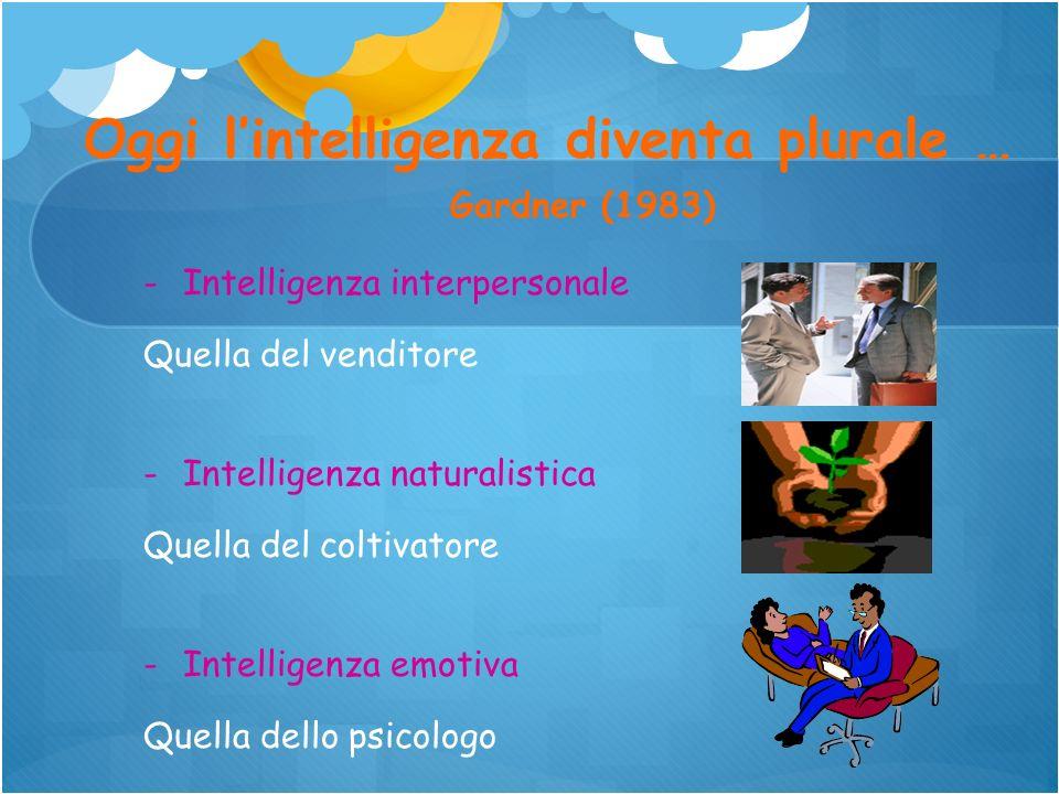Oggi l'intelligenza diventa plurale …