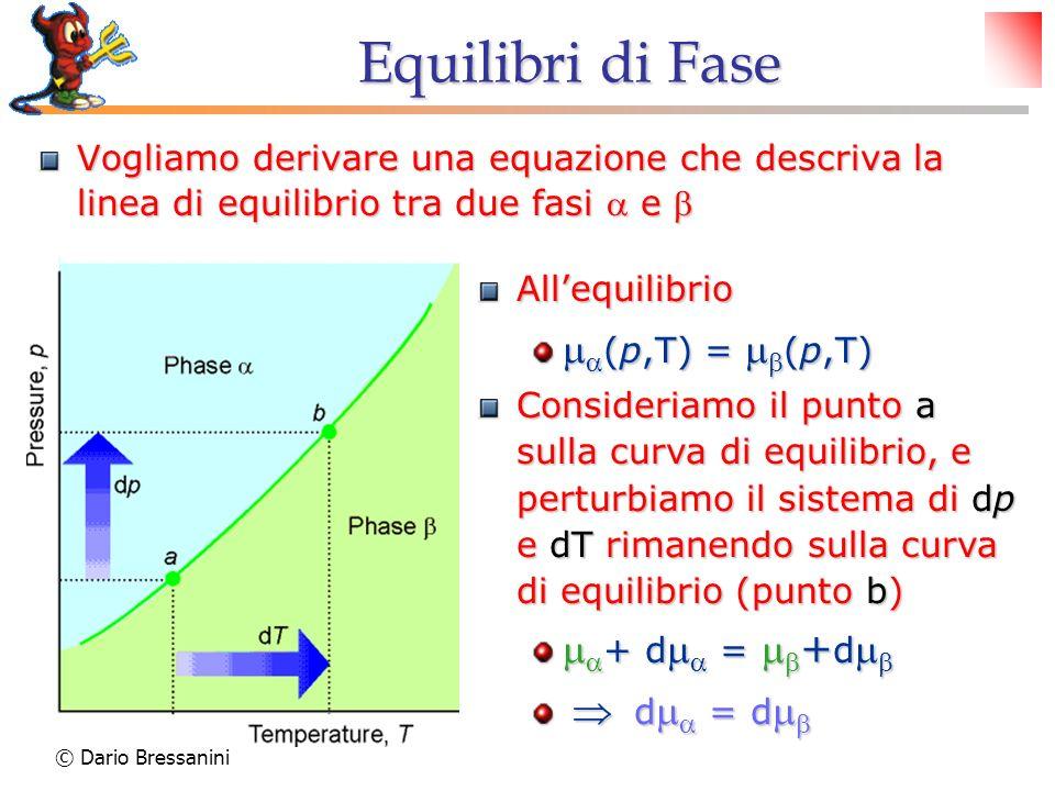 Equilibri di Fase ma(p,T) = mb(p,T) ma+ dma = mb+dmb  dma = dmb