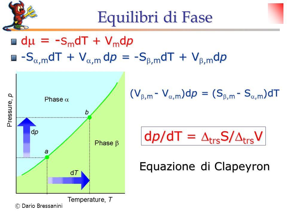 Equilibri di Fase dp/dT = DtrsS/DtrsV dm = -SmdT + Vmdp