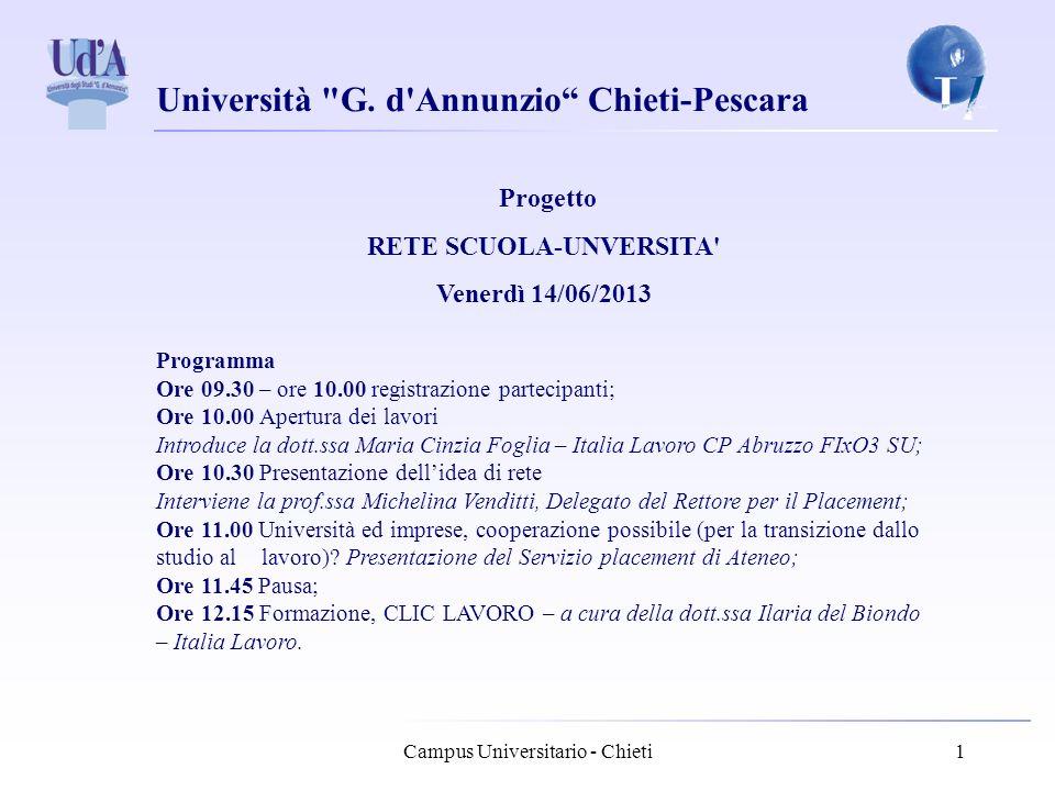 RETE SCUOLA-UNVERSITA Venerdì 14/06/2013
