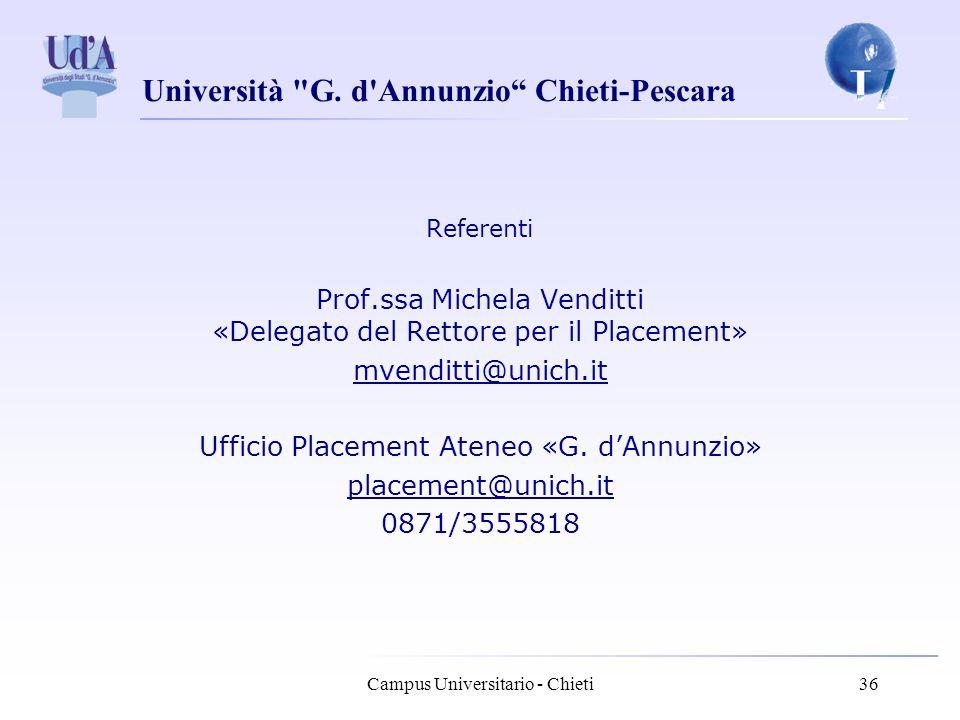 Prof.ssa Michela Venditti «Delegato del Rettore per il Placement»