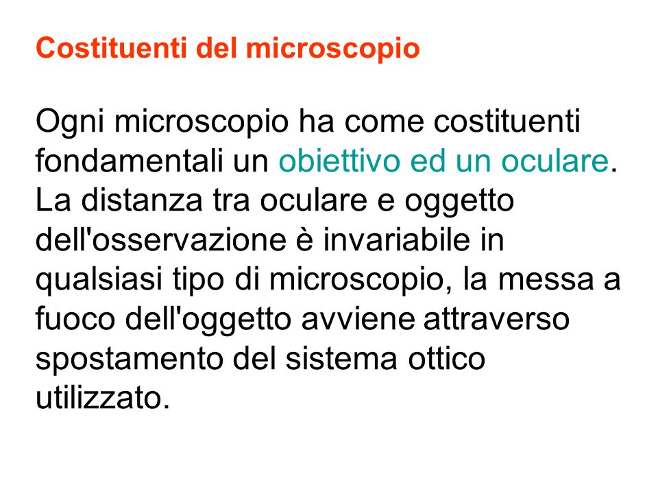Costituenti del microscopio