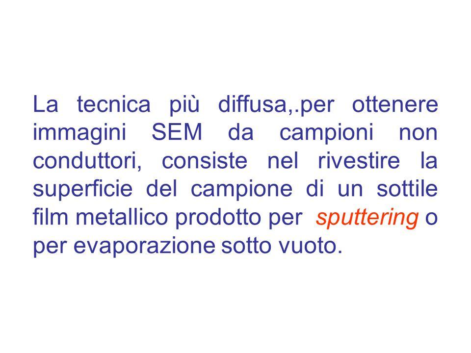 La tecnica più diffusa,.per ottenere immagini SEM da campioni non conduttori, consiste nel rivestire la superficie del campione di un sottile film metallico prodotto per sputtering o per evaporazione sotto vuoto.