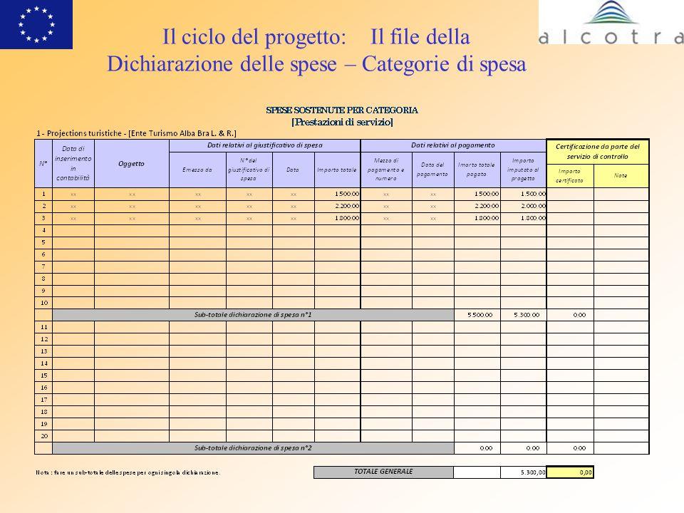 Il ciclo del progetto: Il file della Dichiarazione delle spese – Categorie di spesa