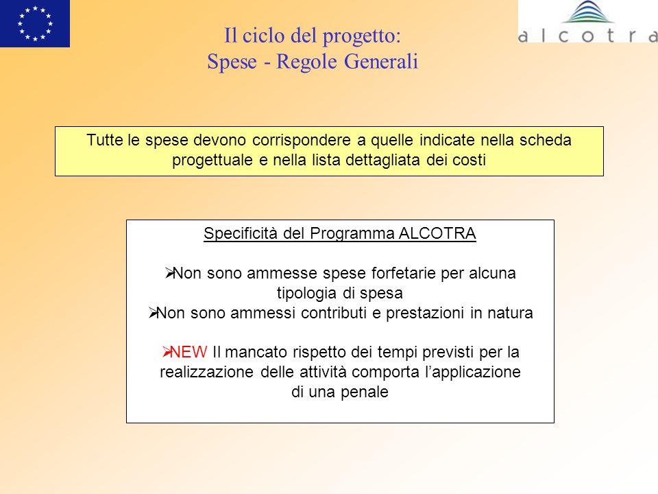 Il ciclo del progetto: Spese - Regole Generali