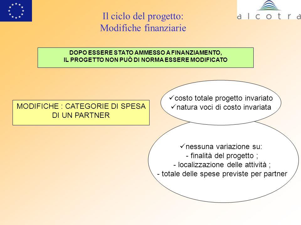 Il ciclo del progetto: Modifiche finanziarie