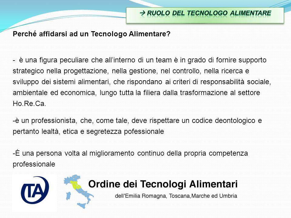  RUOLO DEL TECNOLOGO ALIMENTARE