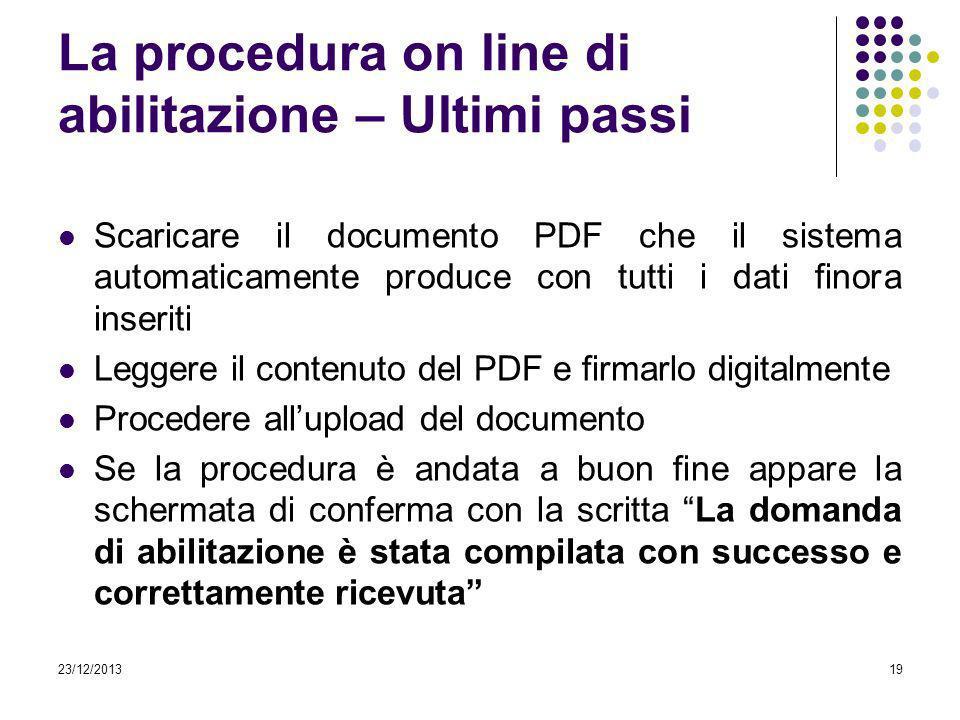 La procedura on line di abilitazione – Ultimi passi