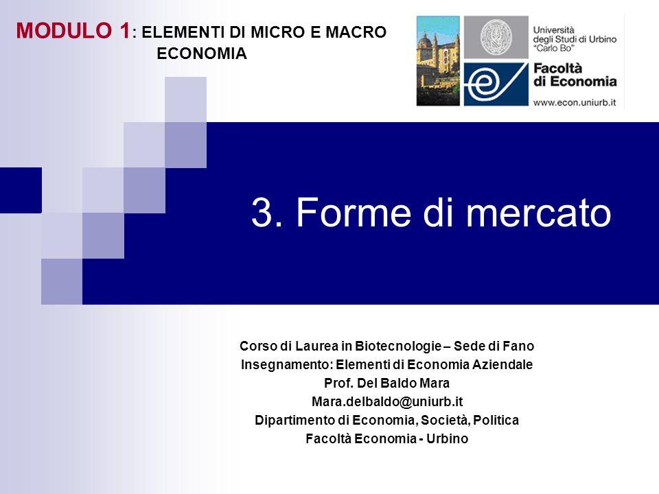 3. Forme di mercato MODULO 1: ELEMENTI DI MICRO E MACRO ECONOMIA
