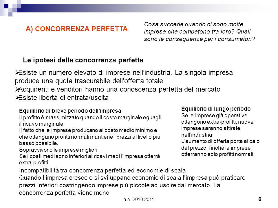 A) CONCORRENZA PERFETTA
