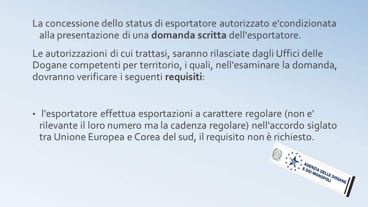 La concessione dello status di esportatore autorizzato e condizionata alla presentazione di una domanda scritta dell esportatore.