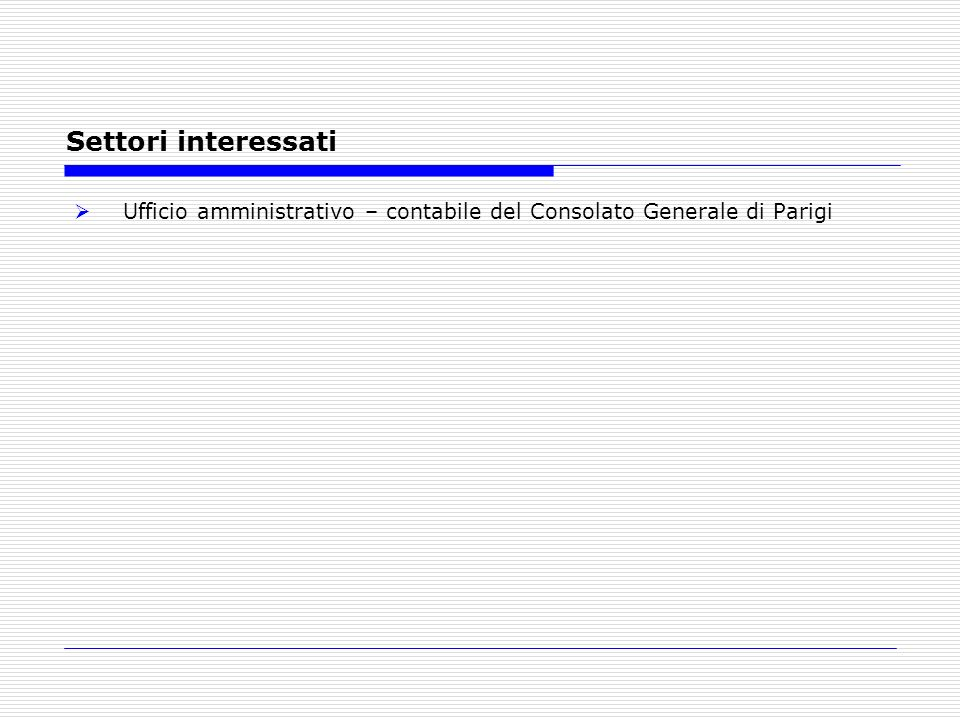 Settori interessati Ufficio amministrativo – contabile del Consolato Generale di Parigi