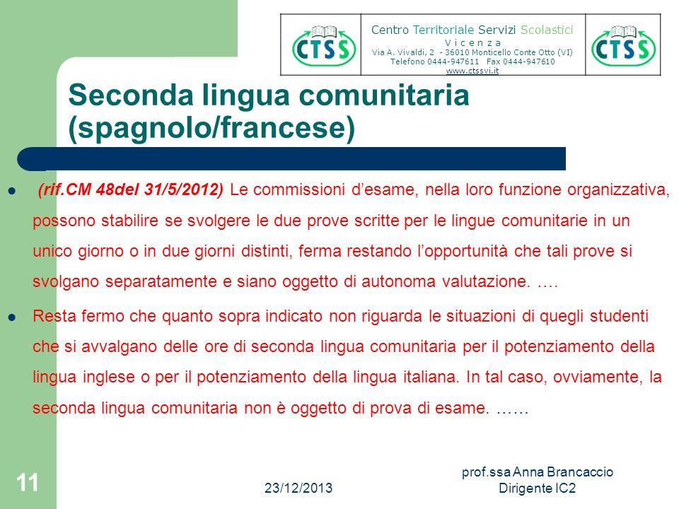 Seconda lingua comunitaria (spagnolo/francese)